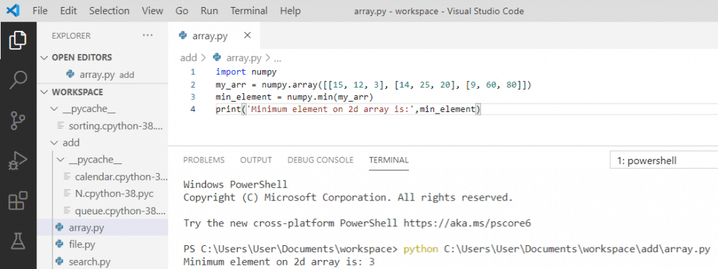 Python minimum value on 2d array
