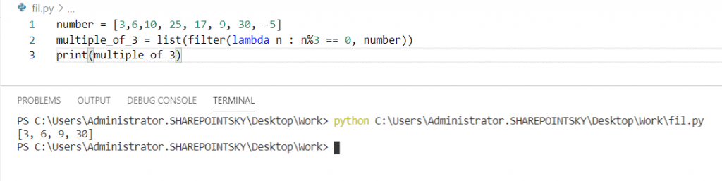 Python lambda function with filter