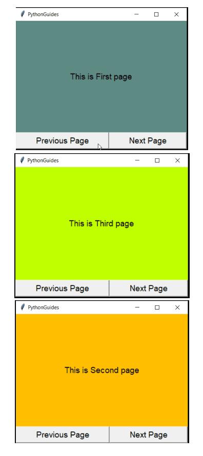 Python tkinter go to next page
