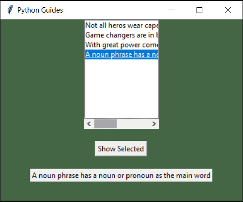 python tkinter listbox horizontal scrollbar