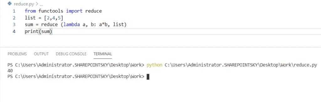 Python lambda function with reduce