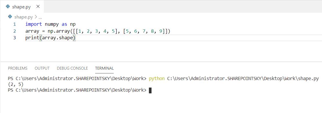Python shape of an array