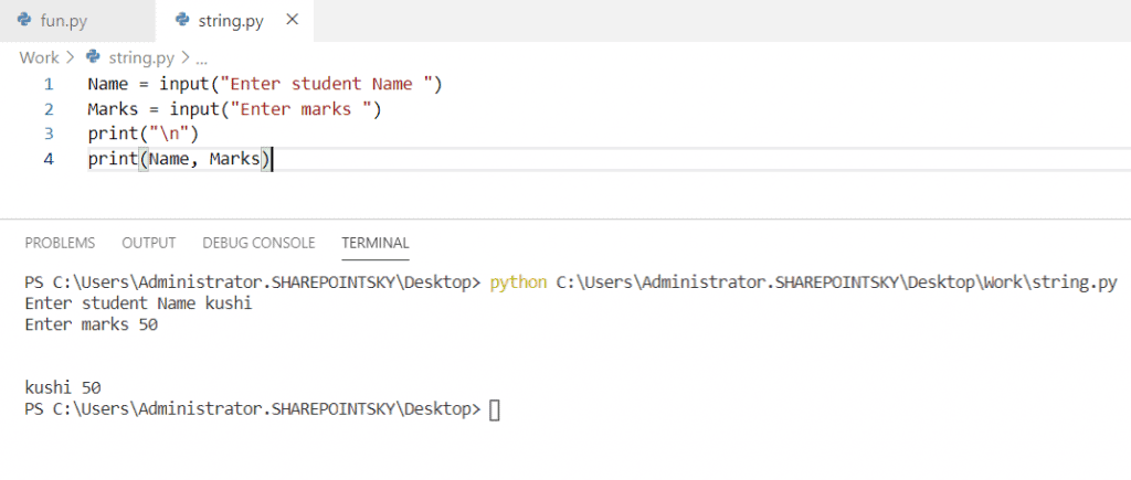 Python ask the user for a string input