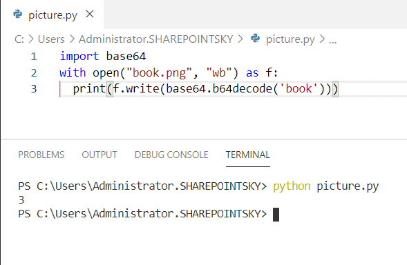 Convert string in base64 to image and save in file python