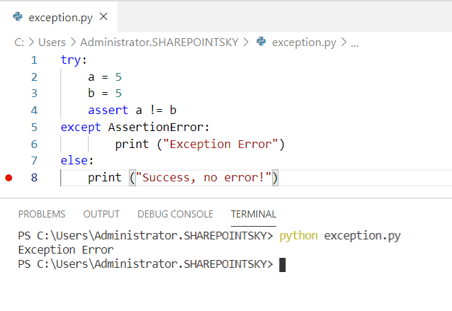 Example on AssertionError in Python