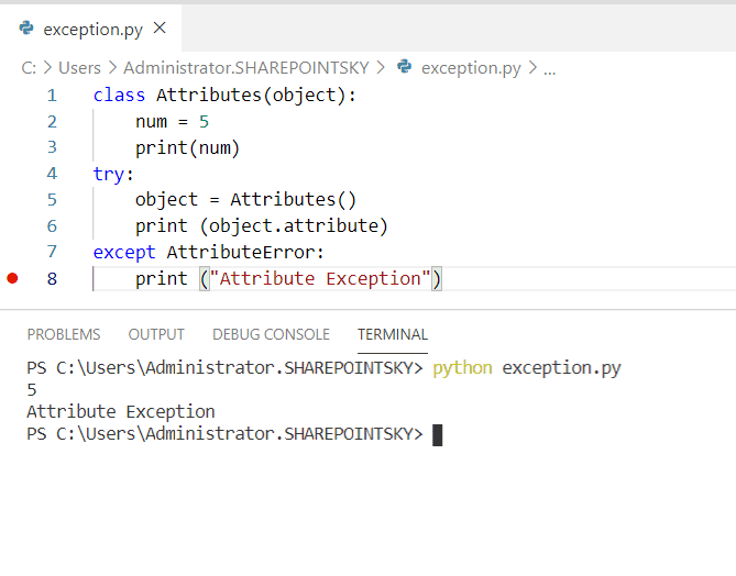Example on AttiributeError in Python