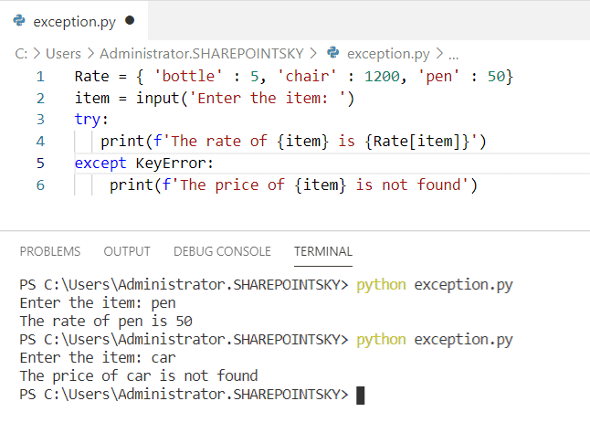 Example on KeyError in Python