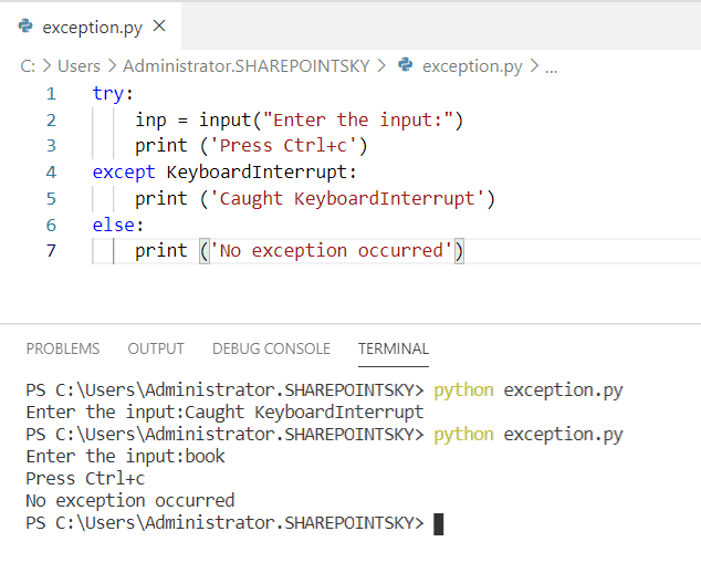 Example on KeyboardInterrupt Error in Python