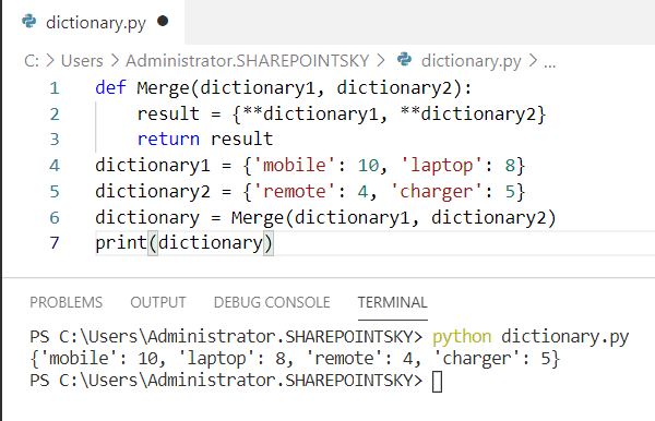 Merge multiple dictionaries python