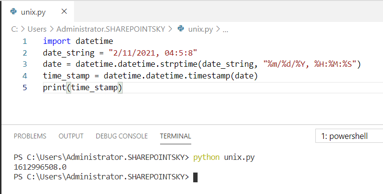 Python DateTime string to Unix timestamp