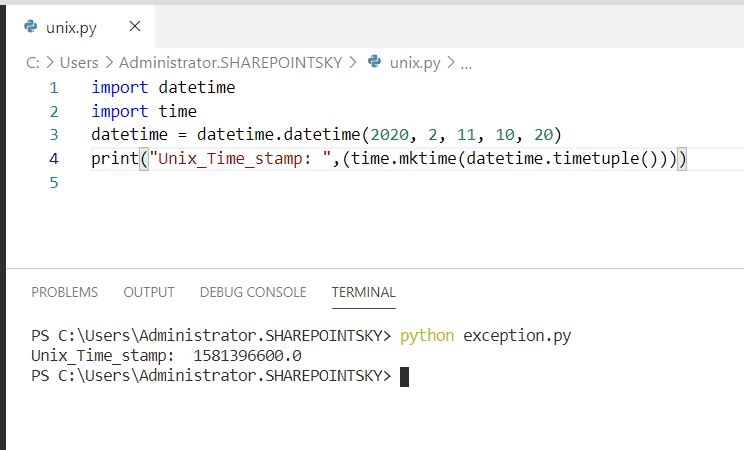 Convert DateTime to Unix timestamp python