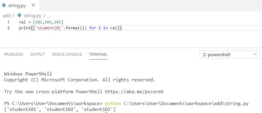 Python add string beginning