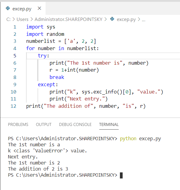 Python catching exceptions