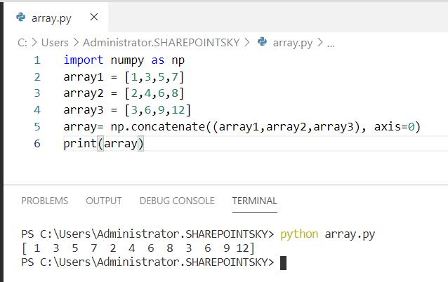 Python concatenate 3 arrays