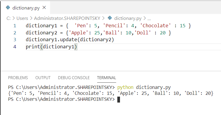 How to concatenate two dictionaries in python