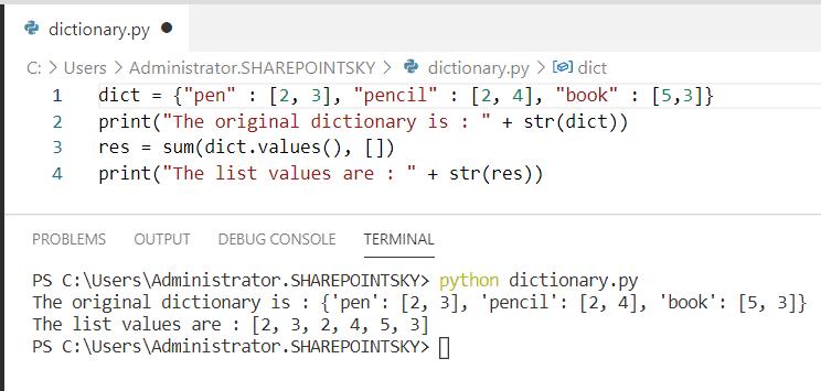 Python concatenate dictionary of lists