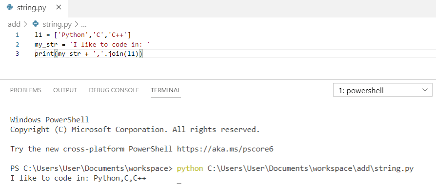 Python concatenate strings and list