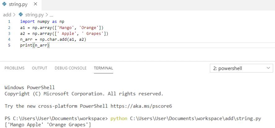 Python concatenate strings array