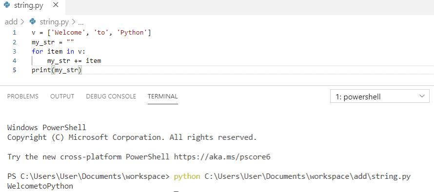 Python concatenate strings in for loop 1