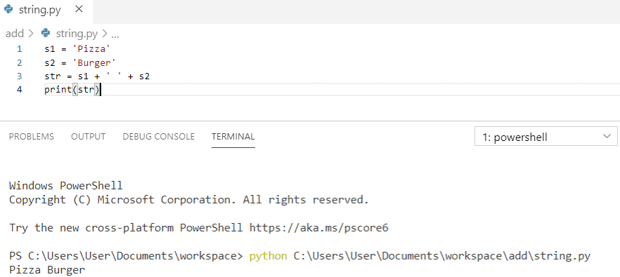 Python concatenate strings with space