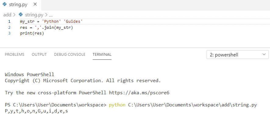 Python join strings by comma