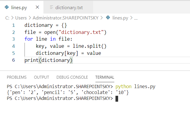 Python read file line by line into dictionary