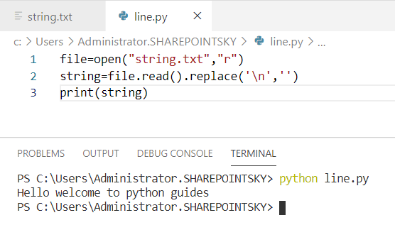 Python read file line by line without a newline