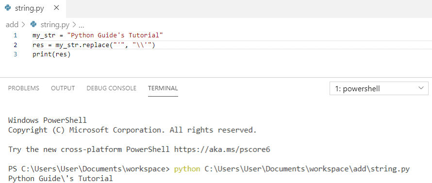 Python string add a backslash