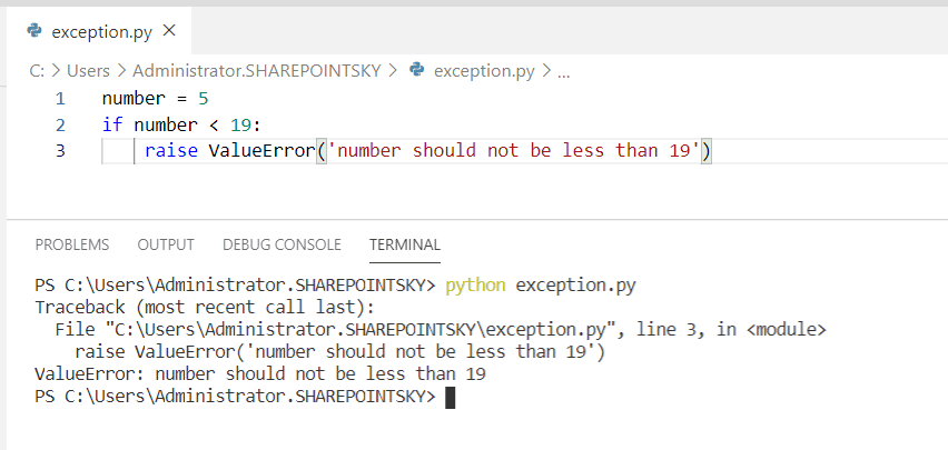 Raise valueError in Python