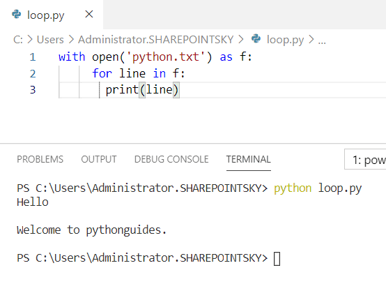Read file line by line for loop python