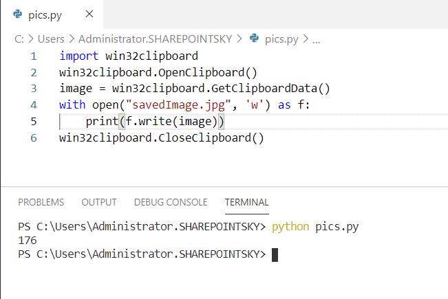 Read jpg from window clipboard in python