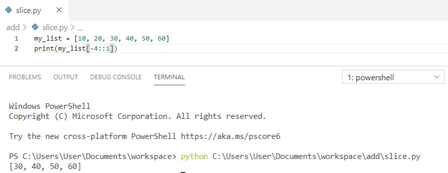 Slicing in python list