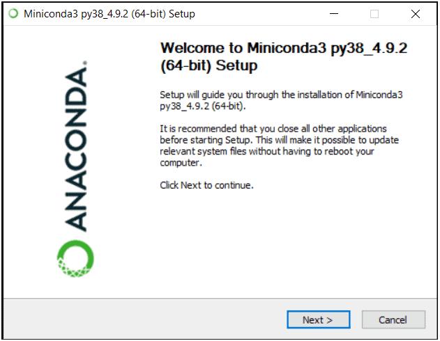python machine learning installing miniconda step 1