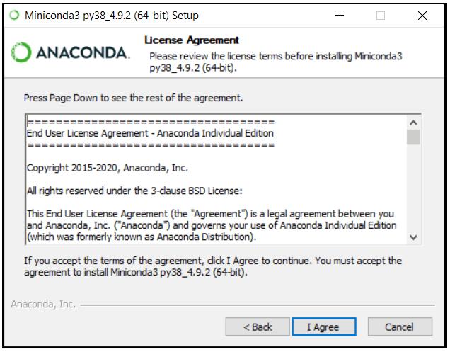 python machine learning installing miniconda step 2