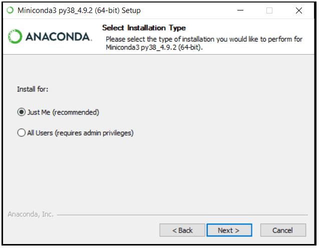 python machine learning installing miniconda step 4