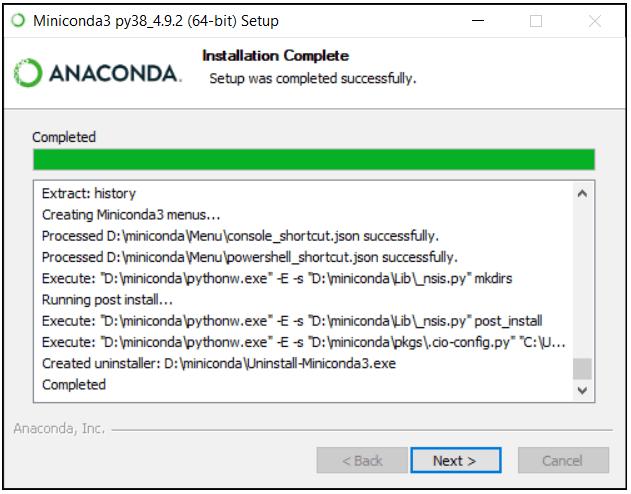 python machine learning installing miniconda step 6