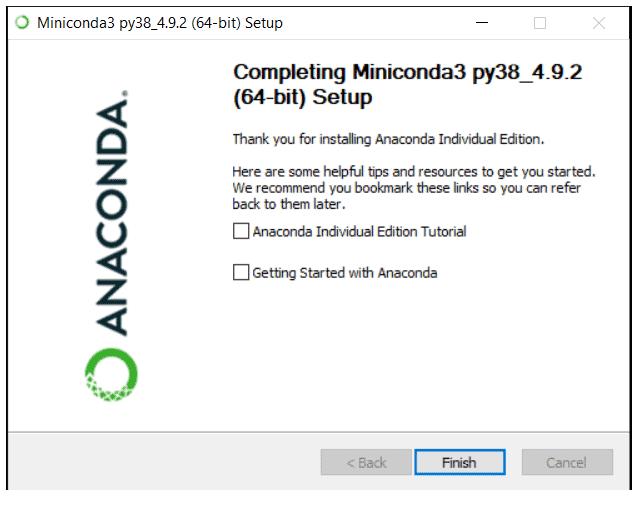 python machine learning installing miniconda step 7