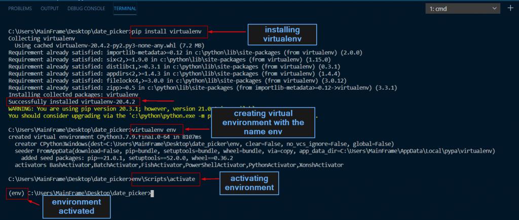 python tkinter date picker installing virtualenv
