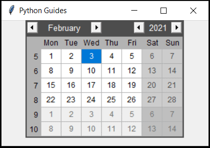 python tkinter date picker tkcalender look