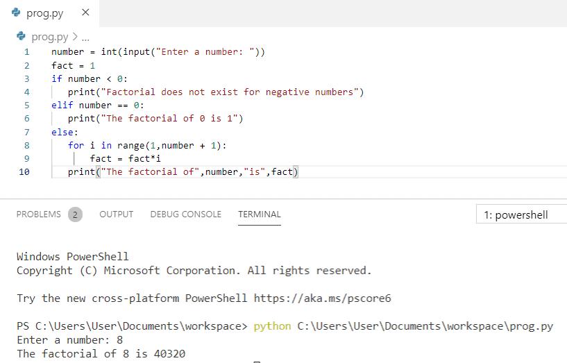 Factorial program in python using if-else