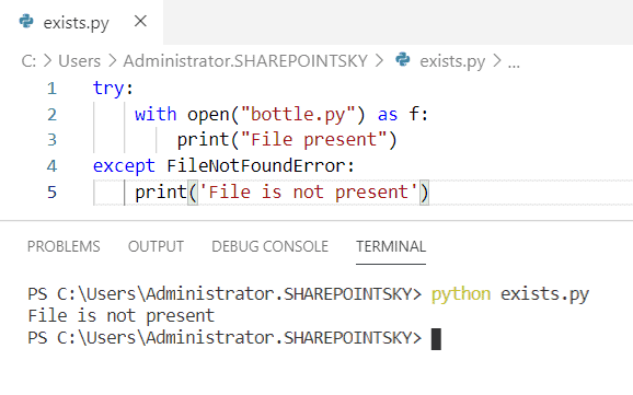 File does not exist python exception