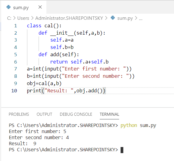 How to add two numbers in python using class