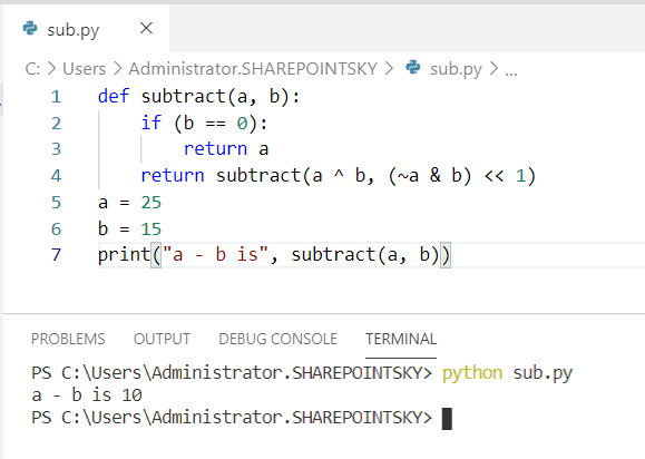 Program to subtract the numbers without using arithmetic operator