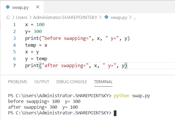 Python Program to swap two numbers using a temporary variable