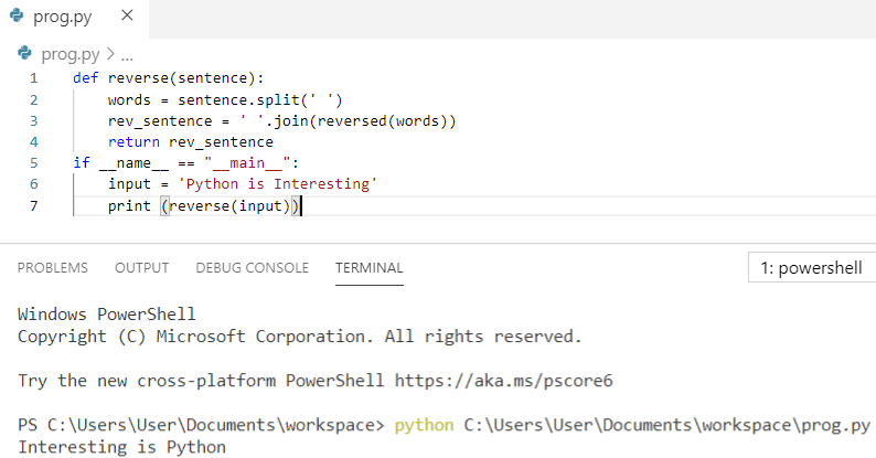 Python code to reverse words in a string