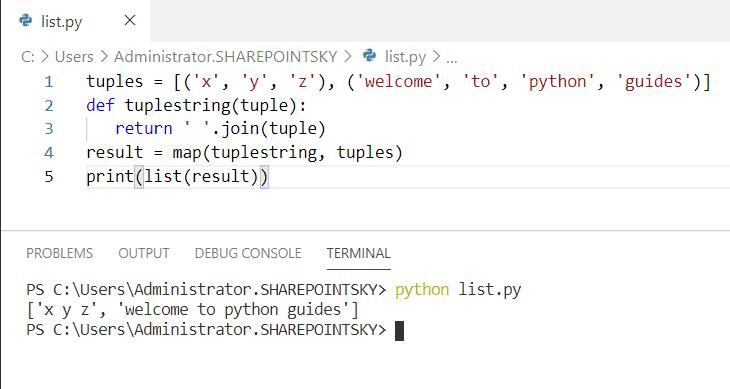 Python concatenate a list of tuples