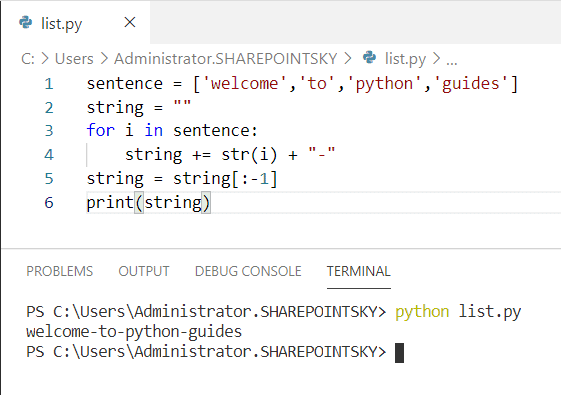 Python concatenate list to string
