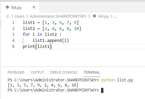 Python concatenate list