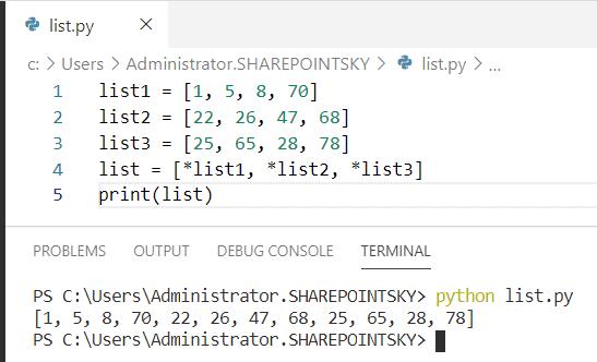 Python concatenate multiple lists