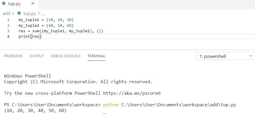 Python concatenate tuples